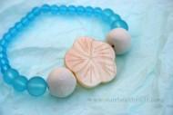 Blue Sea Glass & Shell Flower